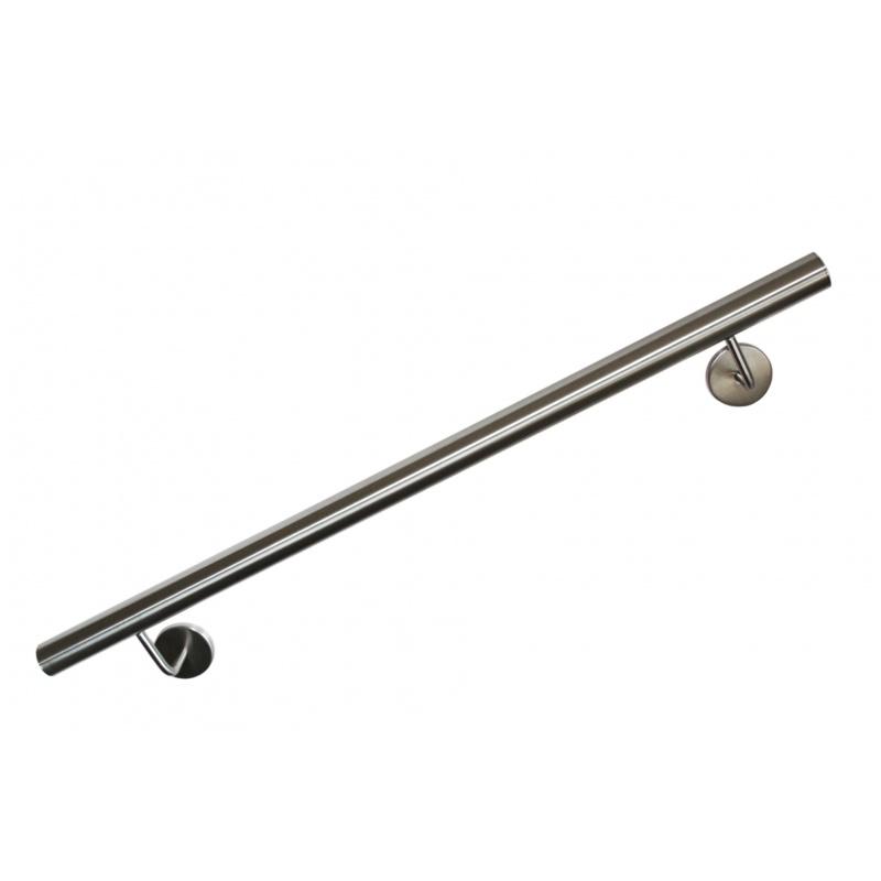 Edelstahl Handlauf V2A 42,4mm 240K geschliffen Wandhandlauf mit leicht gew/ölbter Endkappe 1800 mm