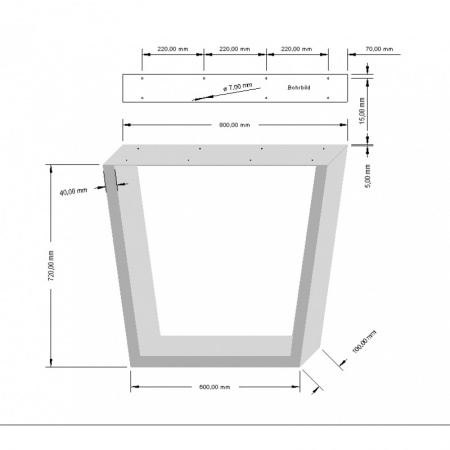 Table frame black Crude steel 600 x 720 Edition 800 Plate in some ...